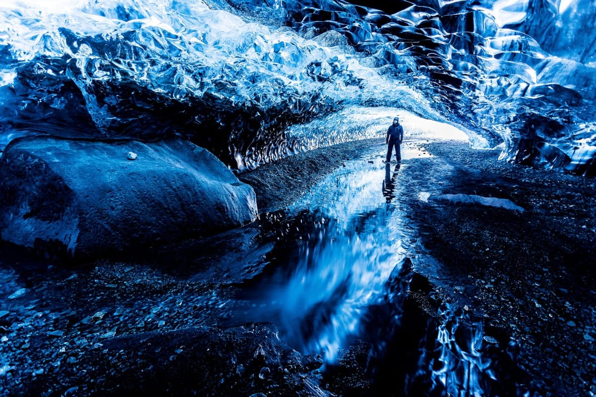 Visiting an Ice cave in a glacier is an amazing experience