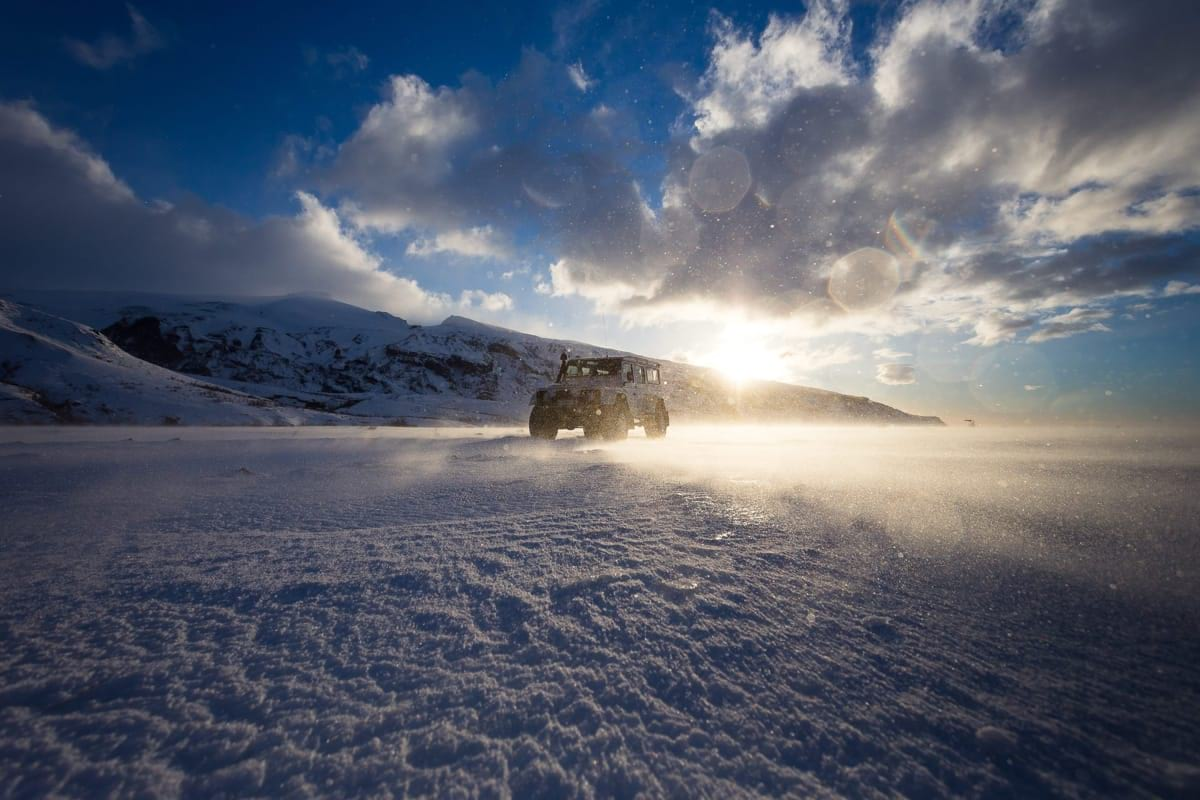 A Super Jeep driving on Langjökull glacier