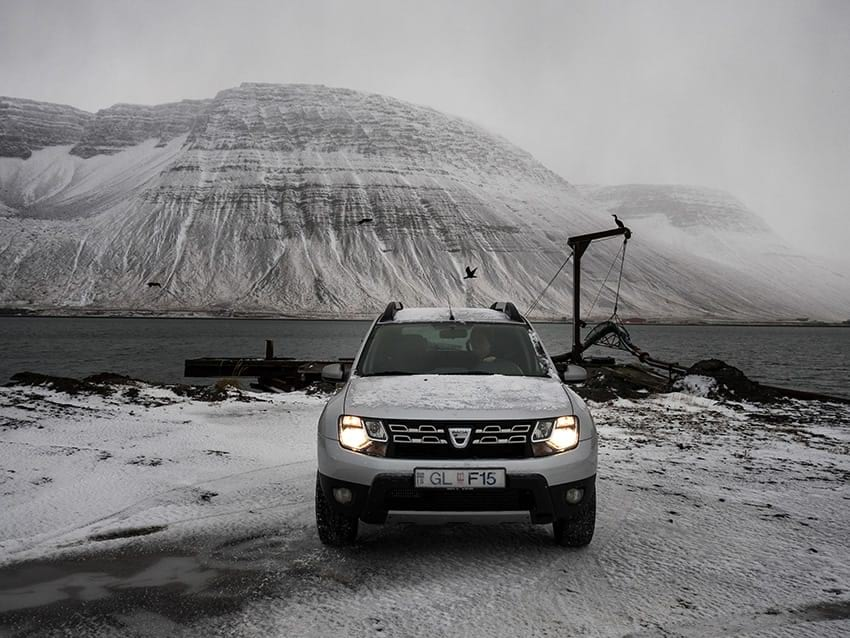 Rental car driving in Icelandic snow