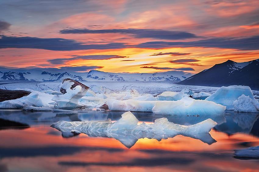 Vatnajokull glacier Glacier Lagoon South Coast Iceland