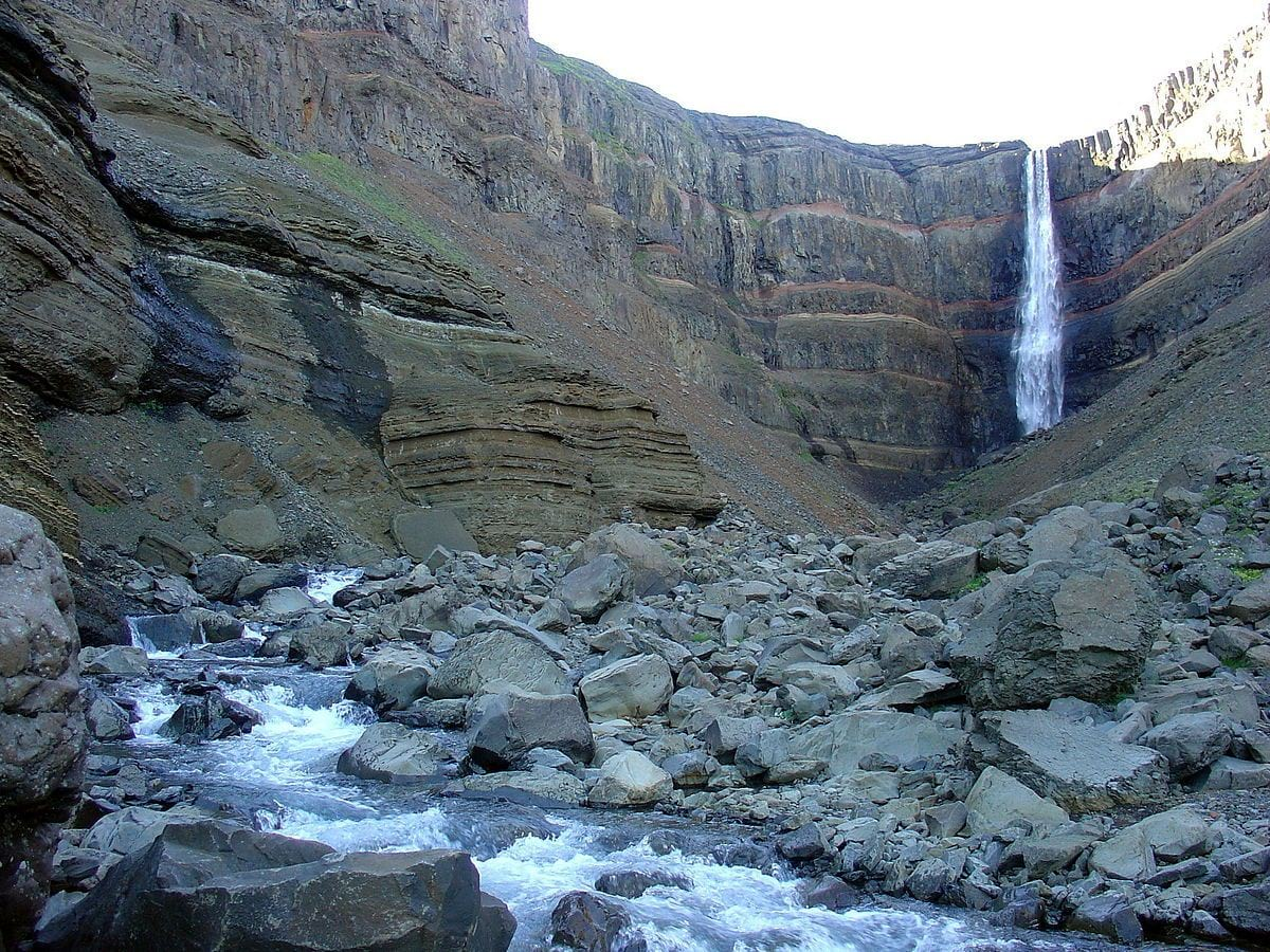 The top of Hengifoss is about 450 meters above the sea level making this one of the highest waterfalls in the country