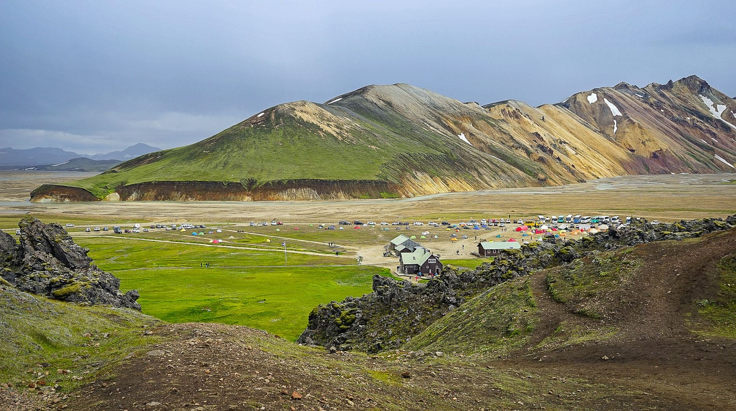 Base camp with plenty if tents and cars in Landmannalaugar