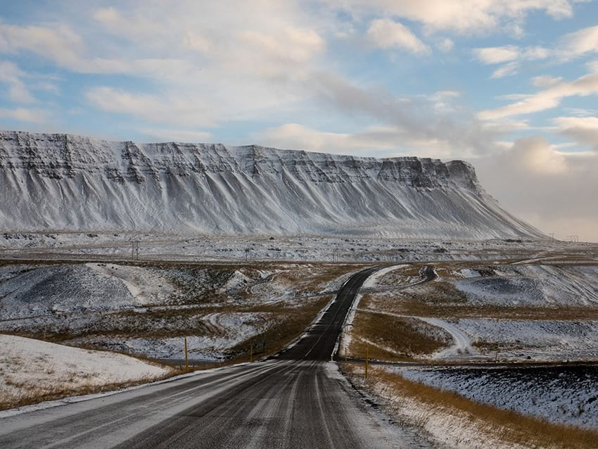 Icelandic winter road with icy conditions