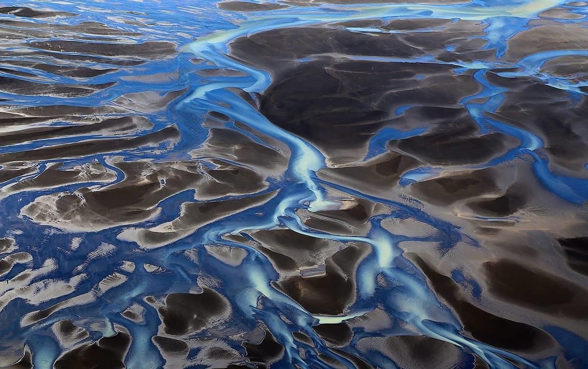 That river Þjórsá seen from a helicopter