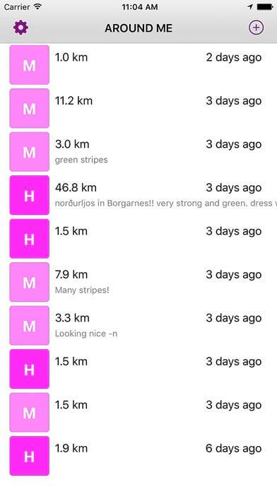 Icelandic northern lights alerts app