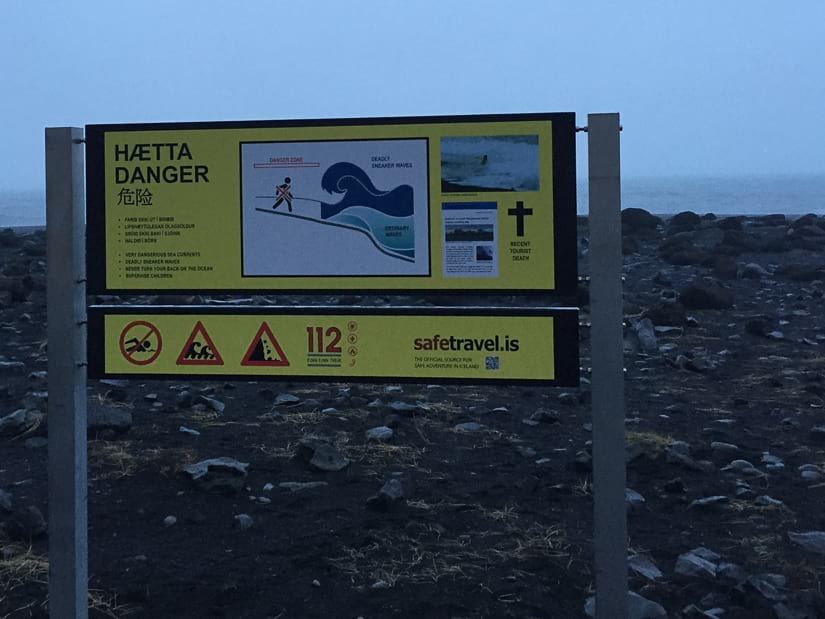Warning sign at Reynisfjara