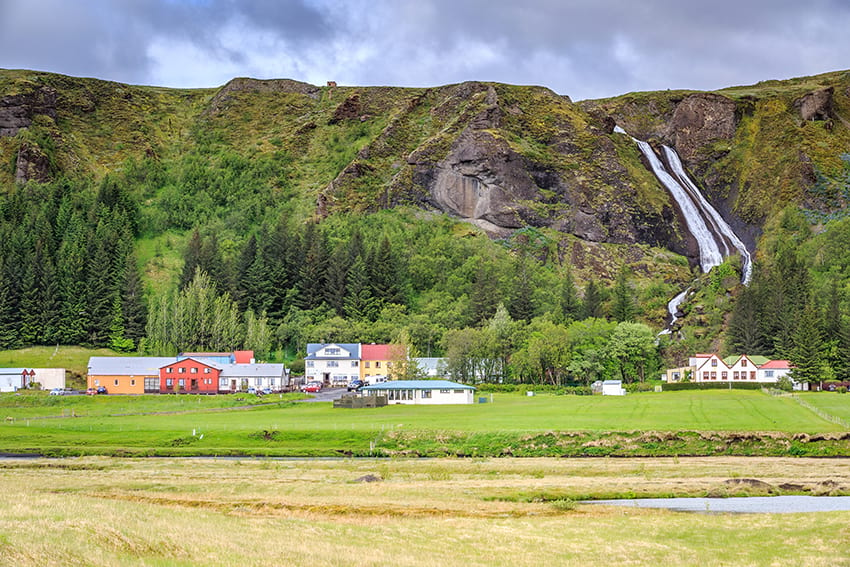 Kirkjubaejarklaustur town Systrafoss waterfall South Coast Iceland