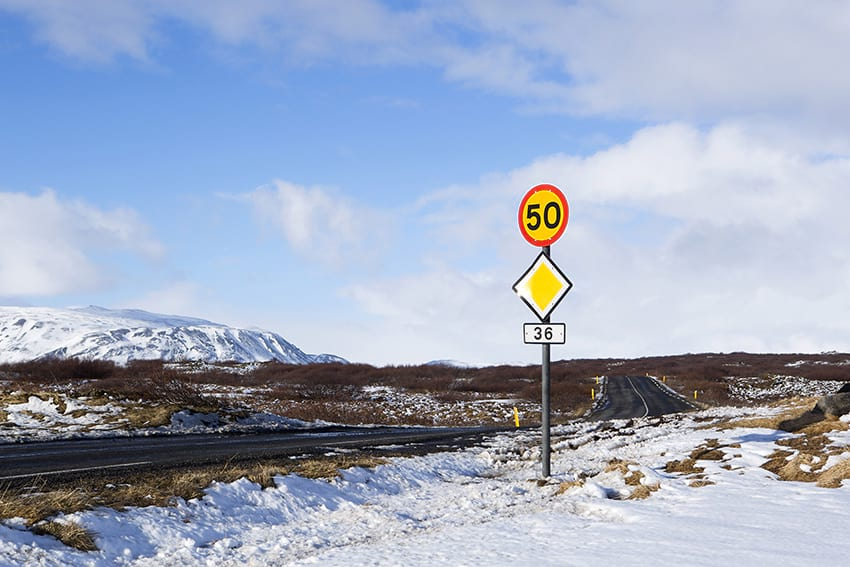 Speed limit in the highlands in Iceland