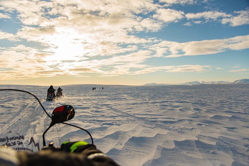 Snow mobiling Vatnajokull glacier Iceland