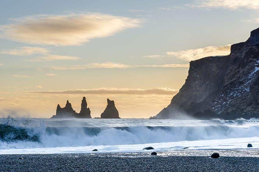 Reynisdrangar seen from Vík South Coast Iceland
