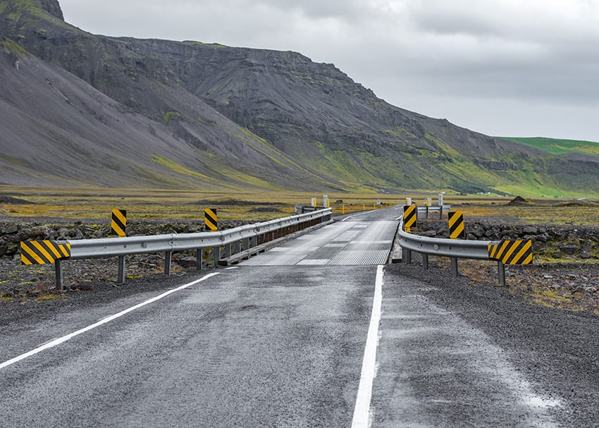 Single lane bridge on ring road in Iceland