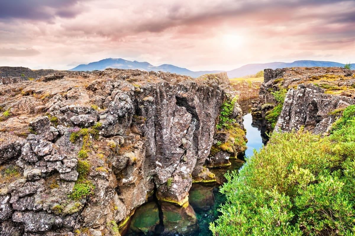 Walk path between the tectonic plates in Þingvellir national park