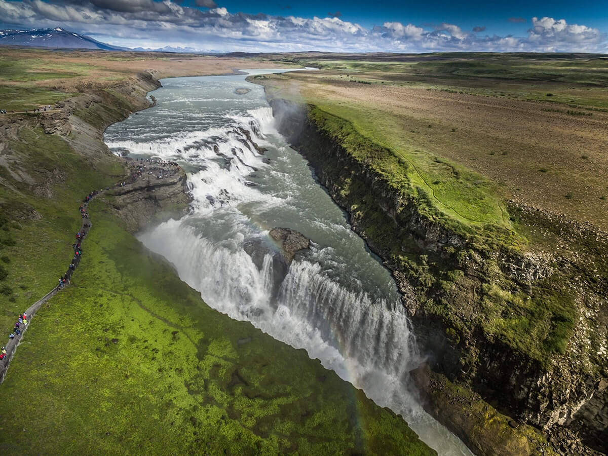The magnificent Gullfoss waterfall seen from above